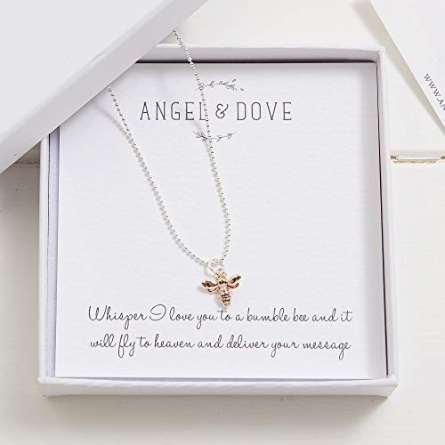 Angel & Dove'Whisper I Love You to a Bumble bee.' Silver & Rose Gold Bee Necklace in Gift Box with Bag & Card