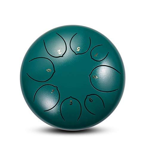 JHDPH3 Stahl-trommeln 5.5inch Stahlzunge Lotus Trommel 8-Tone Handbecher Tankdrum Instrument Musical Education Konzert Mind Yoga 1.7 (Farbe: Antikes Silber) (Color : Dark Green)