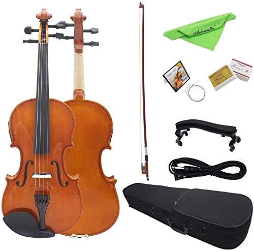 SOAR Violine Violine für Anfänger Naturholz elektrische Violine 4/4 Vollgröße Massivholz Bogen Retro Koffer Audiokabel Schulter Tuosong Duftstoffe Extra String Studierende