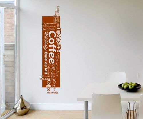 myDruck-Store Adesivo da Parete caffè Espresso con Scritta Coffee Cucina Sticker Adesivi da Parete 5q601, Nero Opaco, 140 cm