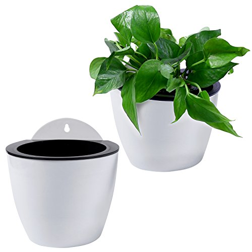 7 inch Wall Mountable Self Watering Planter Pots, White, Set of 2