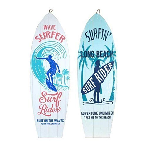 Vendido y Enviado por CAPRILO Set de dos adornos para colgar en la pared de distintos colores en forma de tabla de surf con estampados de motivos surfistas y playeros. Colección: Surf Spirit. Material: DM. Medidas: 75 x 24 x 1 cm. Decoración original...