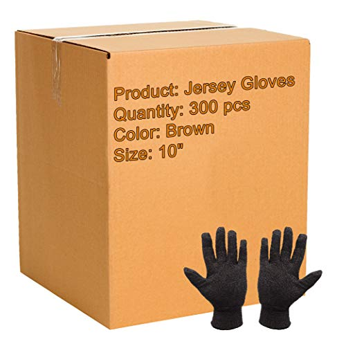 300 Pack Brown Jersey Gloves for Men 10'. Reusable Washable Glove with Elastic Knit Wrist. Cotton Polyester Gloves 10 Oz. Plain Breathable Gloves. Industrial Work Gloves. Comfortable. Large size.