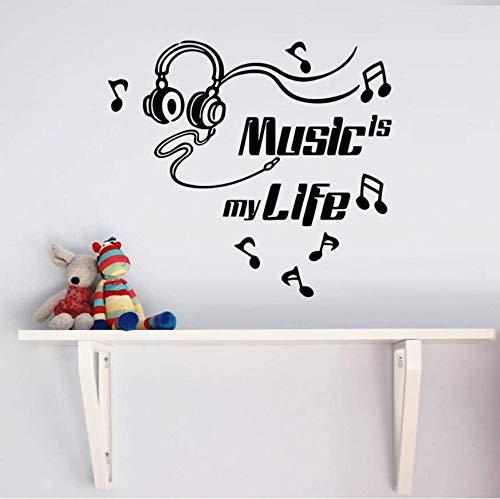 Wangyy Aufkleber Tapete Musik Ist Mein Leben Brille Abnehmbare Art Vinyl Wandhaupt Raumdekor Wandaufkleber 44X54 Cm