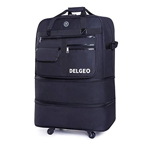 Delgeo Maleta Cabina de Viaje, Bolsa de Transporte Aéreo Plegable, La Altura se Puede Aumentar a 45 cm, 60 cm y 72 cm, Apta para Transportada o Transportada- Negro