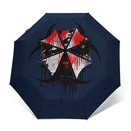 Resident Evil Regenschirm Corp Blutspritzer, Winddicht, kompakt, automatisch, zusammenklappbar, Reise-Sonnenschirm