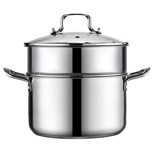 Vapor de alimentos, vaporizador de acero inoxidable Juego de ollas de cocción Caja de utensilios de cocina al vapor, con tapa de vidrio, bandeja de cocina de inducción para cocina de cocina, estilo 2,