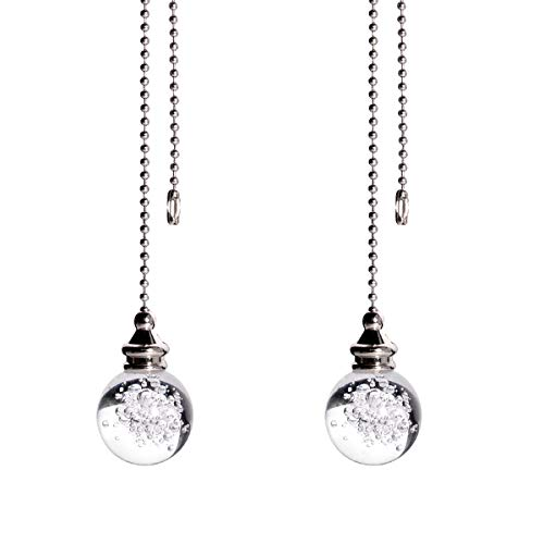 longsheng crystal Bubble Ball 30mm 2 Pieces Dazzling Crystal Ceiling Fan Pull Chain Pull Chain Extension with Connector for Ceiling Light Fan