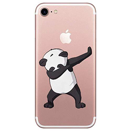 Oihxse ersatz für iPhone SE 2020 (4.7) Hülle Transparent iPhone 8/7 Hülle Silikon Weiche Ultra Dünn Hülle Slim TPU Tasche Hülle Gel Soft Clear Kratzfeste Stoßfest Schutzhülle (Panda tanzen)