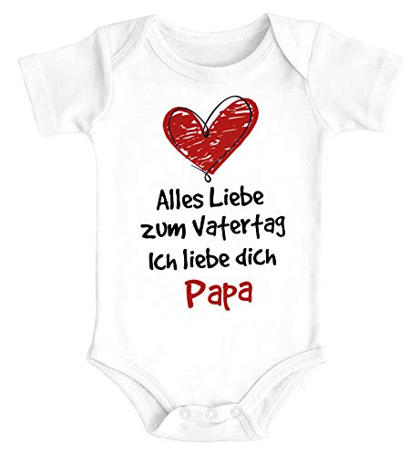 MoonWorks® Baby Body Alles Liebe Papa Vatertagsgeschenk Bio-Baumwolle Jungen & Mädchen weiß 3-6 Monate