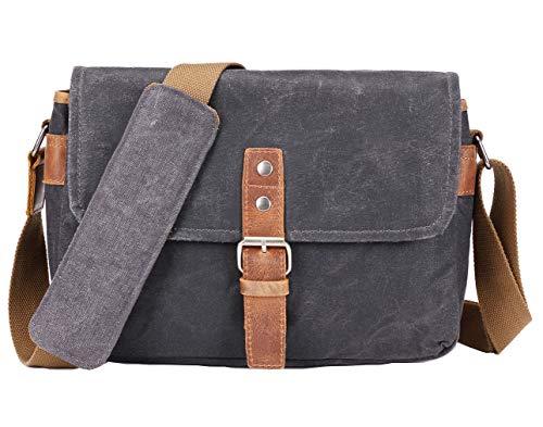 Vianber SLR-Kameratasche, wasserdichte Wachs-Segeltuchtasche Vintage Kameratasche Messenger Bag mit Interlayer Pad (Schwarz)