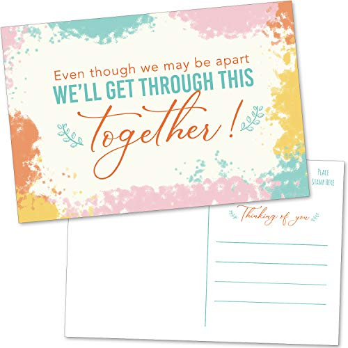 50 Thinking Of You Postcards - We'll Get Through This Together - Note Cards for Encouragement in Quarantine - Bulk Blank Missing You Greeting Cards to Say Hello and Miss You