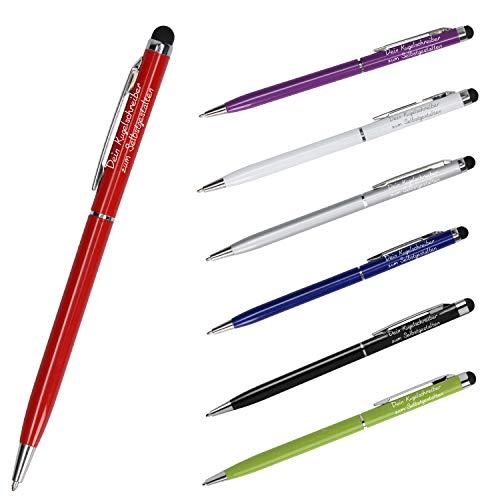 Premium Calidad – Bolígrafo personalizado con grabado   lápiz táctil con nombre para dispositivos táctiles universales   bonita mezcla de metal y plástico (rojo)