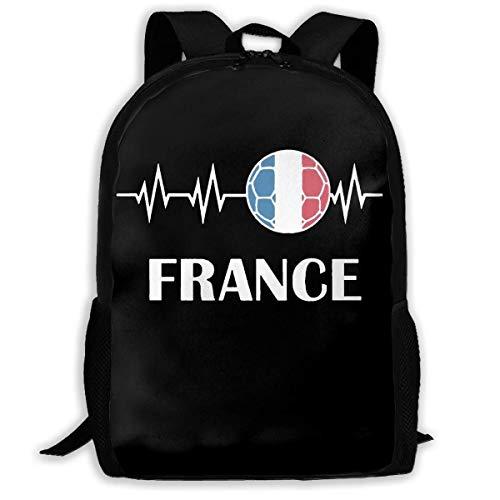 ADGBag Soccer Heartbeat I Love France Fashion Outdoor Shoulders Bag Durable Travel Camping for Kids Backpacks Shoulder Bag Book Scholl Travel Backpack Sac à Dos pour Enfants
