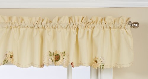LORRAINE HOME FASHIONS Sunflower Tailored Valance, 60 by 12-Inch, Multi-Color