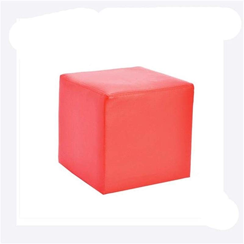 Carl Artbay Wooden Footstool Square Red Square Leather Stool Home Changing His Shoes Stool Home