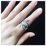 CHXISHOP Anillo de plata 925 retro moda serpiente anillo personalidad índice ajustable anillo de dedo adecuado para mujeres y hombres joyería