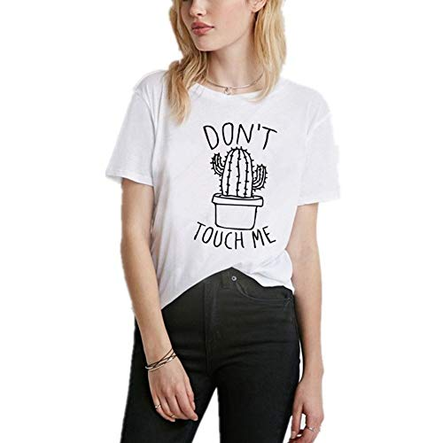 XIAOBAOZITXU Raak Mich niet brief afdrukken zomer zomer T-shirt vrouwen tops wit T-shirt Vrouwen Korte mouwen OANsatz T-shirts