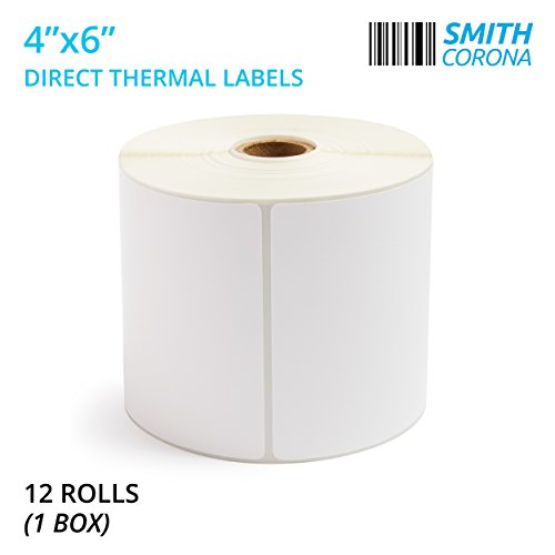 Smith Corona - 4'' x 6'' Direct Thermal Labels, 475 Labels Per Roll, 12 Rolls, Made in The USA, 5700 Labels Total, for 1' Core Printers (12 Rolls) - Zebra Compatible