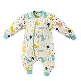 Bebé Saco de Dormir Algodón Bolsa de Dormir con Piernas 2 Tog Mameluco Primavera Pijamas Desmontable Manga Larga para Niños Niñas, 2-4 Años