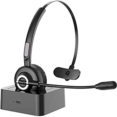 Sanfant Bluetooth Headset, [Updated] V5.0 Trucker Bluetooth Headset with Microphone Noise Canceling, 18hrs Talk Time & Extra 200hrs Power by Charge Base, Car Wireless Headset for Cell Phone/PC/Skype from Shenzhen City LeTu Technology Co., Ltd