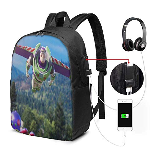 Cartoon Toy Story Buzz LightyeaB Backpack 17 in Unisex Laptop Backpack Travel,Durable Waterproof with USB Charging Por.