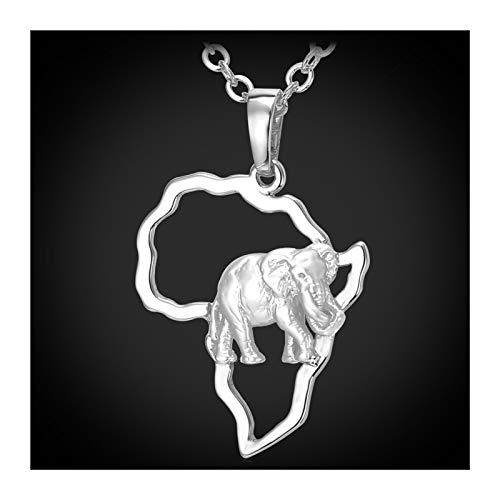 DERFX Collar de Elefante de África Plata/Color de Oro Mapa de Moda Africano Collares Colgantes para Hombres/Mujeres Joyería de Moda Regalo Accesorios (Color : B)