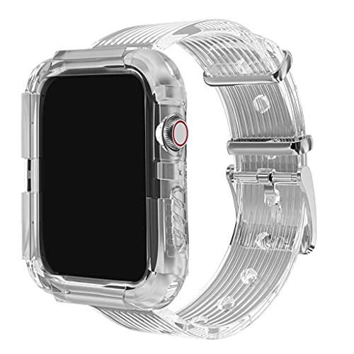 GLASSNOBLE Correa transparente + funda para reloj A-Pple Series 1/2/3/4/5 transparente para I-Watch Pulsera Correa TPU Material