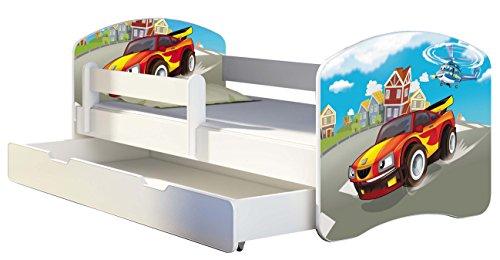 Letto per bambino Cameretta per bambino con materasso Cassetto ACMA II (03 Macchina sportiva, 160x80 + Cassetto)