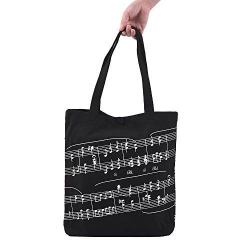 Muslady Lavable Algodón Bolso de tela Music Tote Shoulder Grocery Shopping Bag con patrón de notación musical de botón magnético