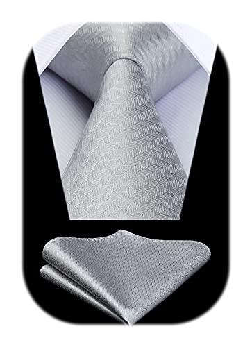 HISDERN Panuelo de corbata de pata de gallo para hombre Conjunto clasico de corbata y bolsillo para boda