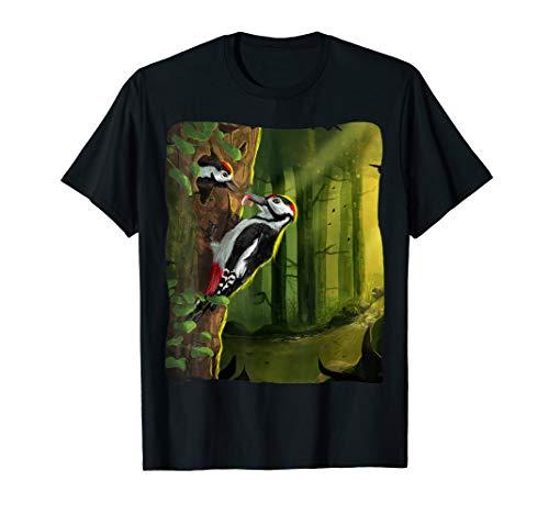 Buntspecht füttert Nachwuchs Specht Vogel Illustration T-Shirt