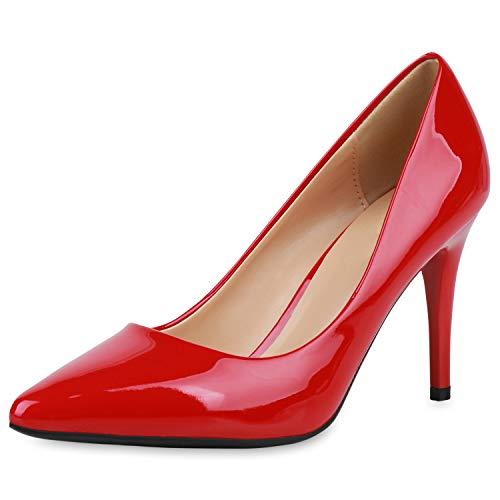 SCARPE VITA Damen Spitze Pumps Elegante Lack Schuhe Stiletto Abendschuhe High Heels Absatzschuhe 190442 Rot 37
