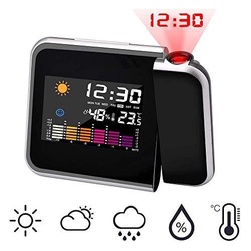 ZHANG Digitale wekker, projectiewekker met 5 inch LED-display, grote cijfers, snooze, USB-poort