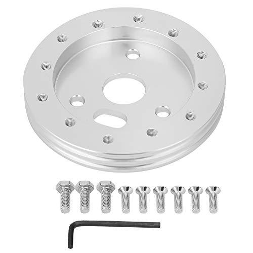 Suuonee Lenkradpolster, Universal-Lenkrad für 3-Loch 0,5-Zoll-Nabenabstandshalter für 6-Loch-Adapter(Silber)