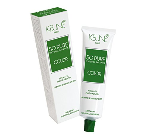 Keune So Pure Permanent Hair Color 100% Ammonia Free & Paraben Free Enriched with Argan Oil Hair Coulor 60ml / 2.1oz (#4 Medium Brown)