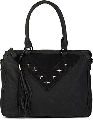 styleBREAKER Shopper Tasche mit Metall-Cutout in Stern Form und Quaste, Schultertasche, Umhängetasche, Handtasche, Damen 02012180, Farbe:Schwarz