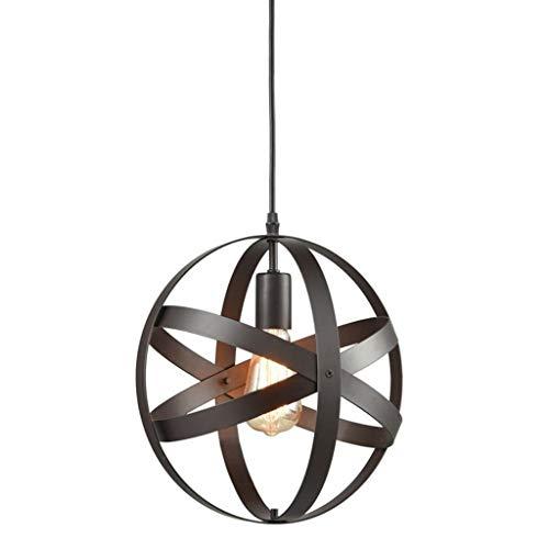 YUQIYU Luces pendientes, restaurante pendiente de la luz de iluminación industrial Esfera Globo del metal de la lámpara Diámetro 30Cm luz pendiente