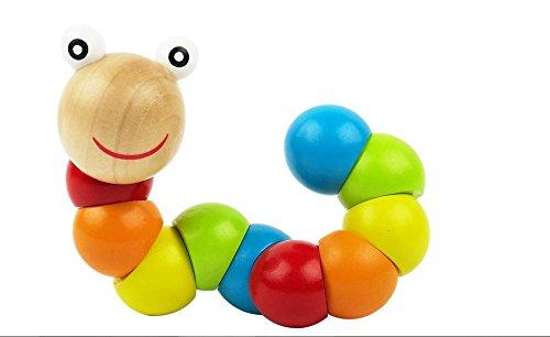 Cofco Cofco Baby-Spielzeug, beweglich und drehbar, Baby-Bausteine, Bildungs-Spielzeug, Holz-Raupe