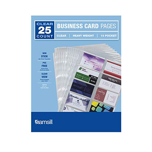 Samsill 25 Pack Heavyweight Business Card Sleeves, Double Sided to Hold 20-3.5 x 2 Inch Business Cards Per Page, Archival Safe