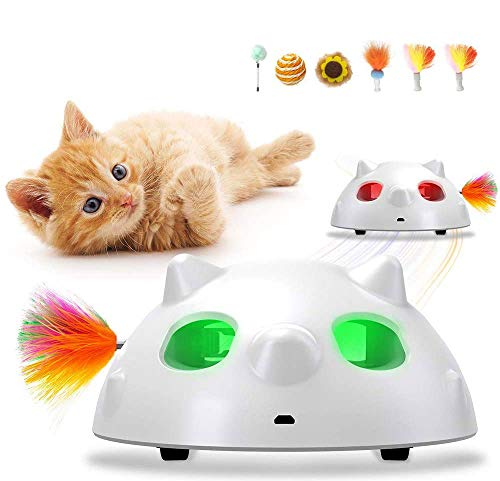 KeBuLe Interactive Cat Toys Robotic,Automatic Cat Toys for Indoor Cats Kitten Toys with Feather Teaser Wand and Cat balls,Cat Toys USB Charging Battery for Training and Exercise LED Light, Auto ON/OFF