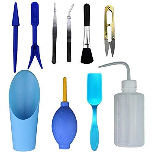 WUHUAROU Mini Gartenarbeit Handwerkzeuge Set(10Stück) Miniatur Gartenarbeit Werkzeugsets Sukkulenten Werkzeuge Include Schaufeln Sprühflasche Pruner und Mini Rake Wasser Flasche etc -Blau