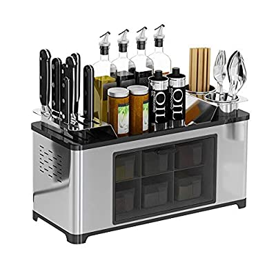 Stainess Steel Countertop Spice Rack Seasoning Box Shelf Cans Bottle Storage Jars Condiment Container Knife Holder Chopsticks Caddy Kitchen Cutlery Organizer Cooking Utensil Tool Holder by