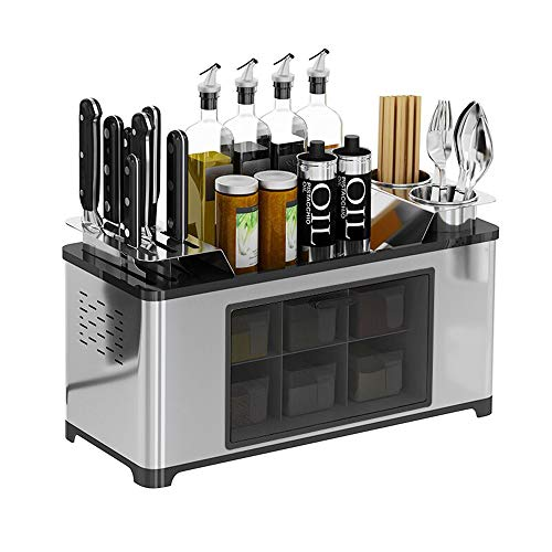 Stainess Steel Countertop Spice Rack Seasoning Box Shelf Cans Bottle Storage Jars Condiment Container Knife Holder Chopsticks Caddy Kitchen Cutlery Organizer Cooking Utensil Tool Holder