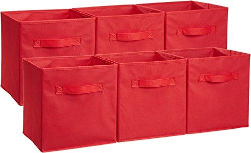 Amazon Basics Foldable Storage Cubes (6 Pack), Red