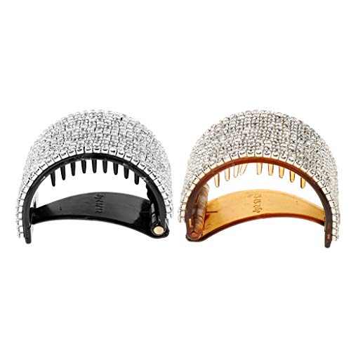 HomeDecTime 2 Pcs Brillant Strass Cheveux Griffe Grip Mors Clip Cristal Dentelle Manchette Wrap Barrette