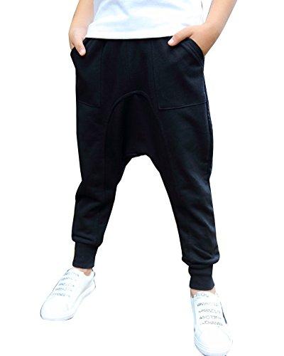LaoZan Herren Jungen Lange Haremshose Jogginghose Freizeithose Sporthose Trainingshose Schwarz 150cm
