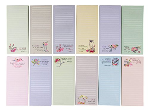 12-Pack Religious Notepad, Magnetic to-Do-List, Grocery List, Religious Gifts, 12 Faith Designs with Scripture, 55 Sheets Per Pad, 2.75 x 6.25 Inches