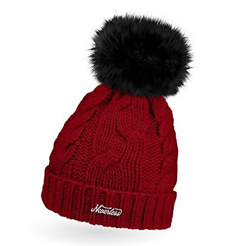 Neverless® Gorro de punto para mujer con forro polar y pompón de pelo 2011 rojo Talla única