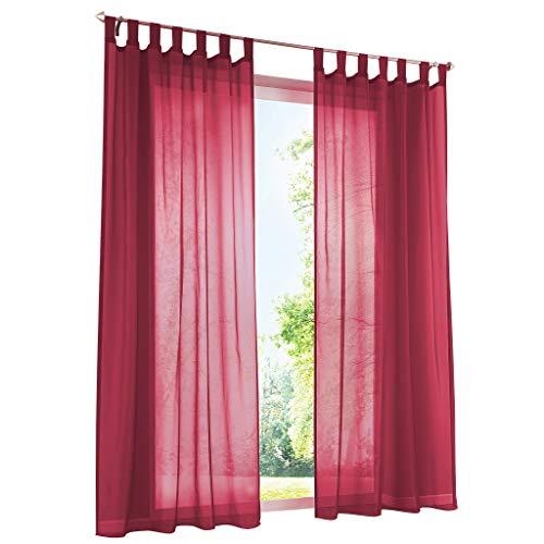 ESLIR Gardinen mit Schlaufen Vorhänge Fensterschal Transparent Schlaufenschal Voile Rot BxH 140x225cm 1 Stück